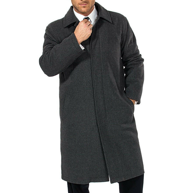 Alpine Swiss Men's Zach Knee Length Jacket Top Coat Trench Wool Blend Overcoat 4
