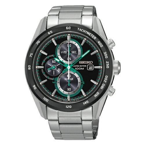 SEIKO Criteria時尚率性太陽能計時腕錶 / 黑面x綠 / V175-0AN0G 0