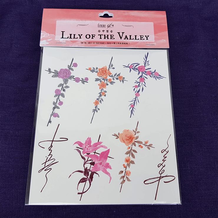 xc9crire刻在心版上的彩色紋身貼紙/Lily of the Valley/谷中百合/每套含7款設計/彩色紋身貼紙/紋身貼紙
