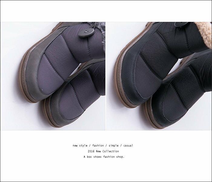【KS5876】寒冬毛茸茸 防潑水尼龍拼接麂皮 保暖柔軟厚毛料短筒雪靴 雪地靴 3色 2