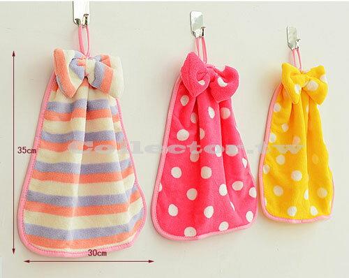 【E16041901】珊瑚絨蝴蝶結掛式擦手巾 強吸水不掉毛 廚房毛巾抹布