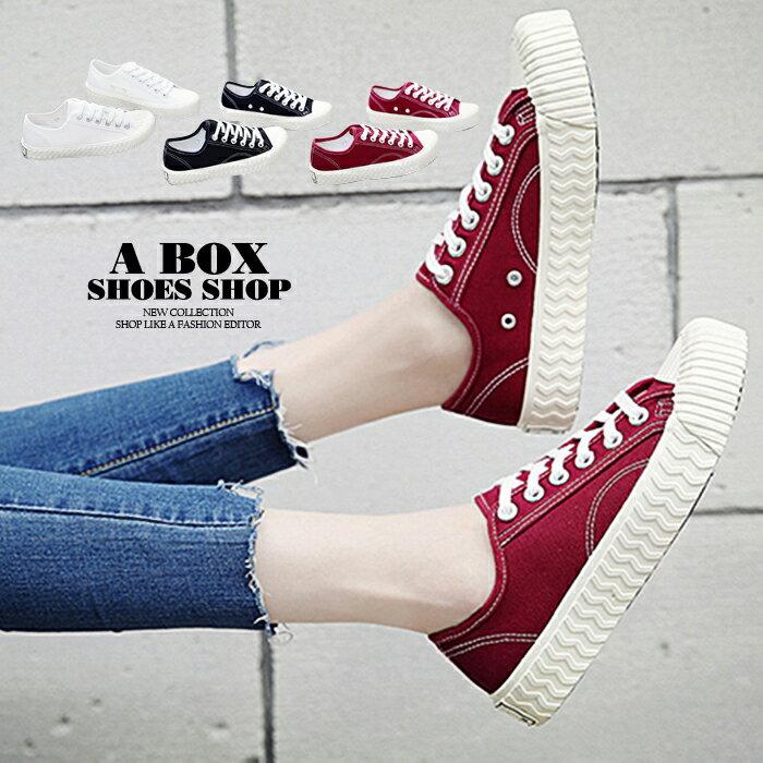 【KPG8655】綁帶帆布鞋 布面鞋 開口笑時尚基本款百搭 2.5CM跟高 3色