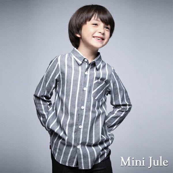 Azio Kids美國派:《MiniJule童裝》襯衫粗細直紋單口袋長袖襯衫(灰)