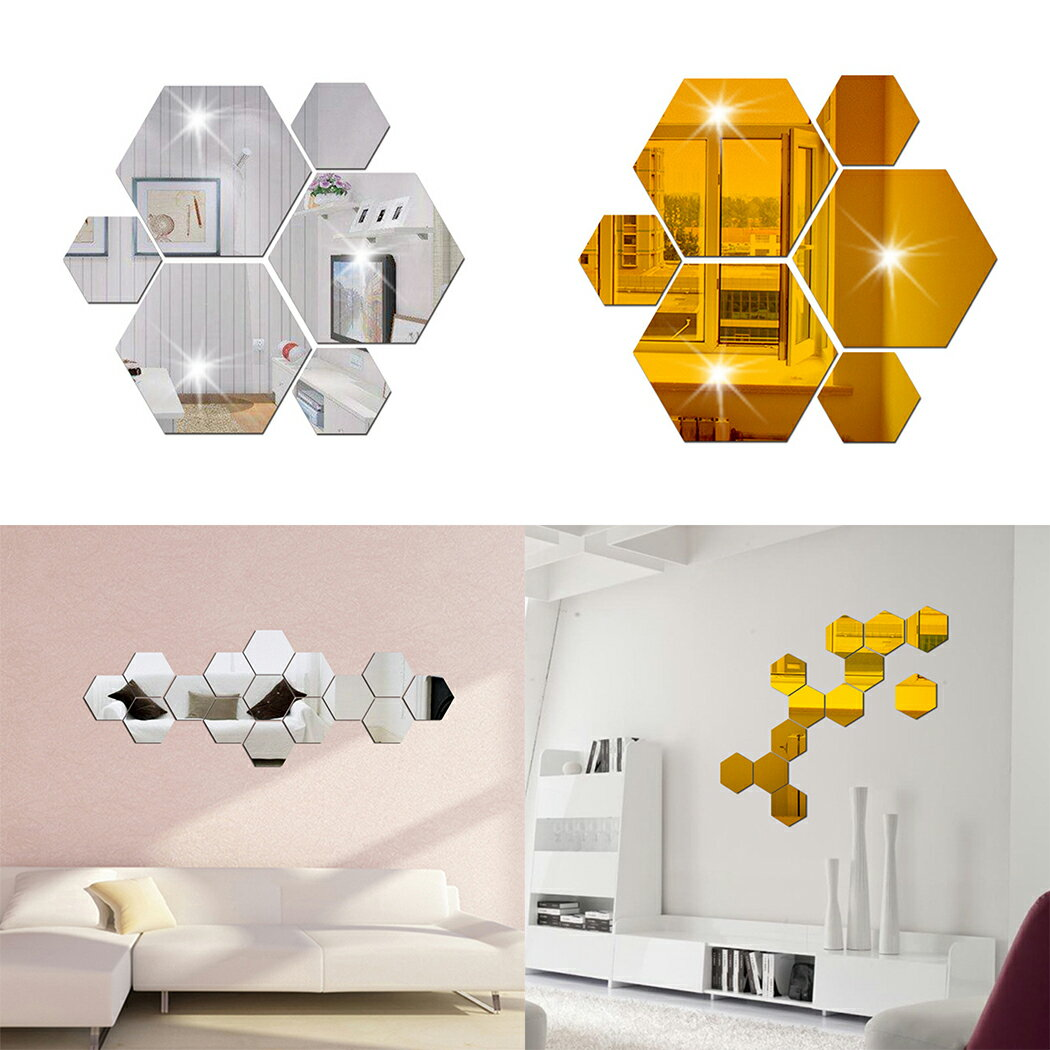 Mirror 12 Piece Hexagon Acrylic Mirror Wall Stickers 2 Colors 1