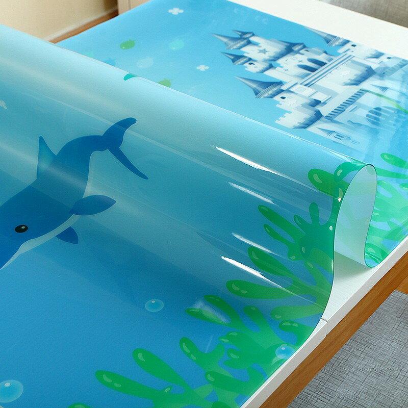 pvc軟塑料玻璃學生書桌桌布免洗卡通小清新電腦桌寫字臺防水桌墊 艾琴海小屋
