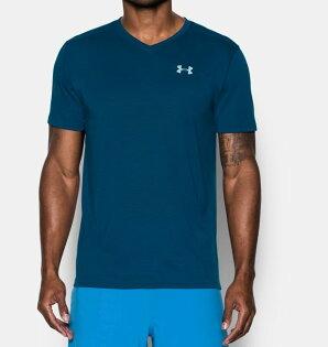 《UA出清69折》Shoestw【1283380-998】UNDERARMOURUA服飾短袖運動上衣吸濕排汗V領深藍色男生