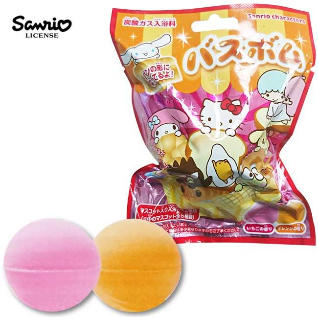 【日本正版】三麗鷗人物 麵包造型 沐浴球 草莓/柳橙香氛 泡澡劑 泡澡球 款式隨機 - 323748