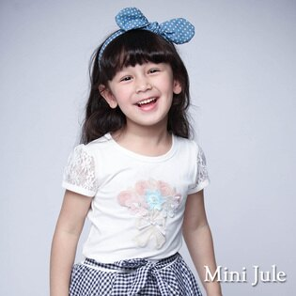 《MiniJule童裝》上衣花束蕾絲袖圓領棉T(米白)