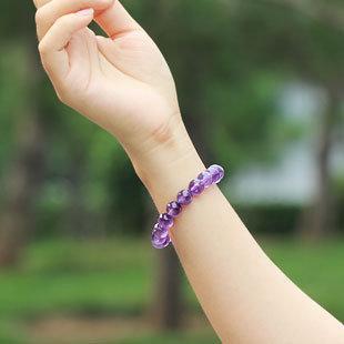 紫水晶手鏈女 紫水晶手串手鏈 紫水晶圓珠