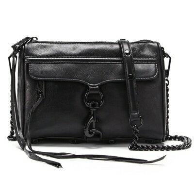 【REBECCA MINKOFF】Mini Mac 黑色真皮側肩包/斜背包