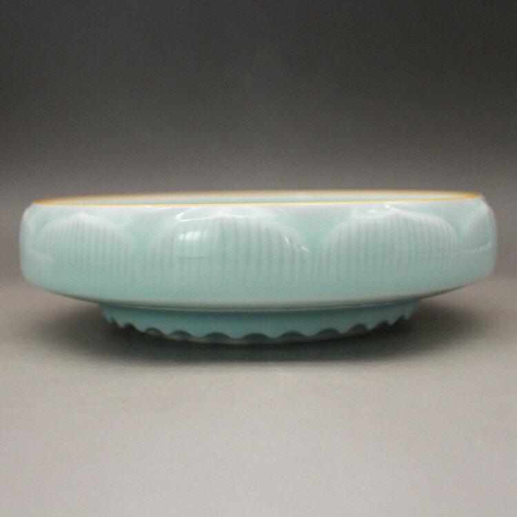 清雍正 天青釉雕刻蓮花水淺筆洗 手工精品古玩古董陶瓷仿古瓷收藏