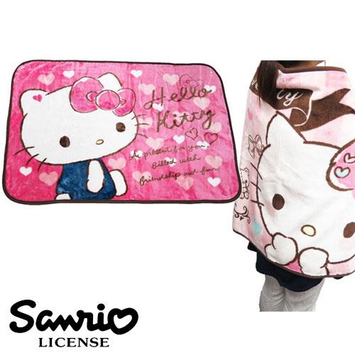 粉紅愛心款【日本進口正版】凱蒂貓 Hello Kitty 絨毛 披肩 毛毯 毯子 三麗鷗 Sanrio - 417857