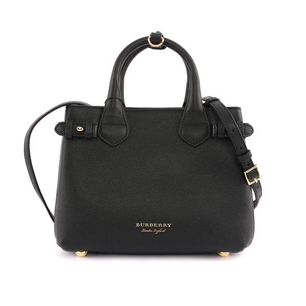 【BURBERRY】THE BANNER HOUSE 格紋皮革小型包(黑色)4023700 00100