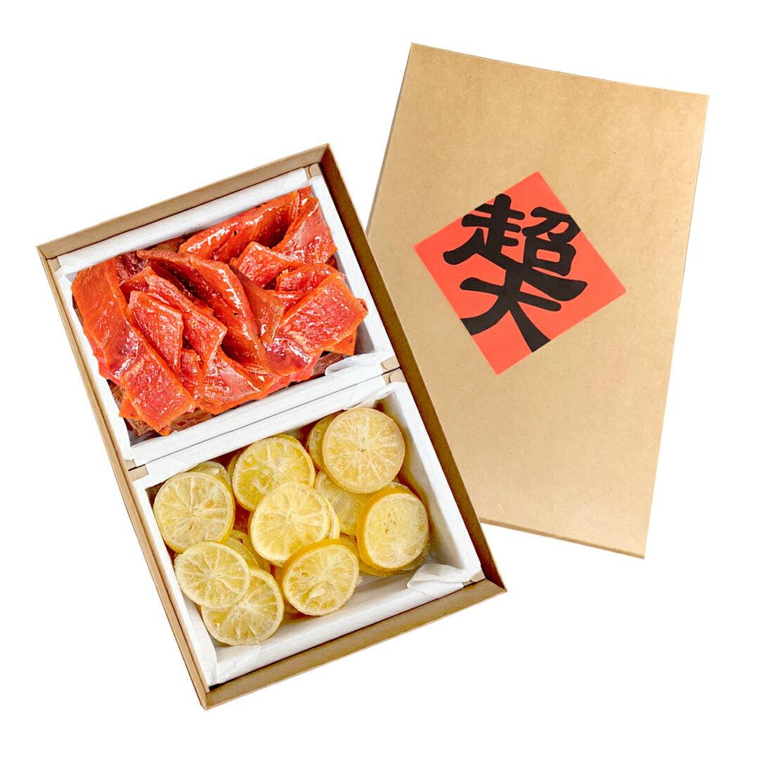 超大迎春禮盒 傳統薄片豬肉乾167克 超大香橙乾171公克 【超大食品】