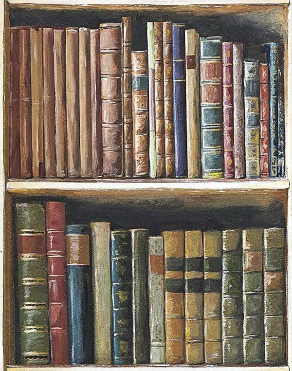 Mind the Gap / Book Shelves WP20112 壁紙「訂貨單位156cm x 3m/套(1套3張壁板)」復古風 仿真 書架 古文書