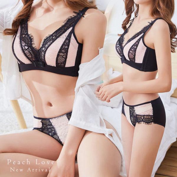 內衣高質感清新少女成套內衣組(兩色:黑粉、咖啡)-胸罩_蜜桃洋房