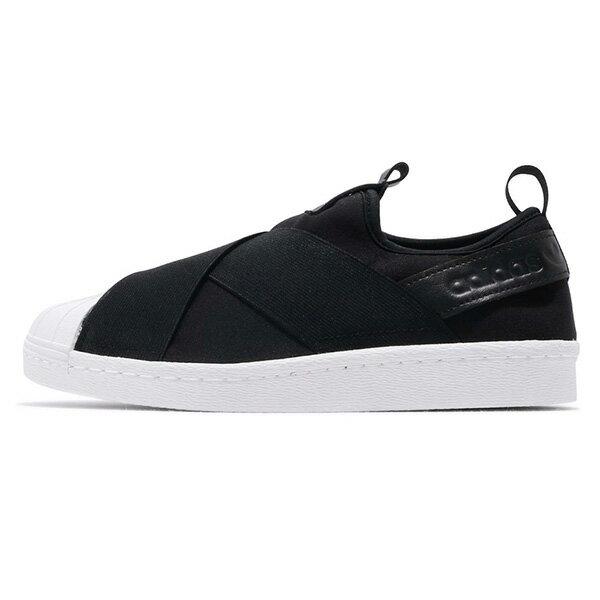 【ADIDAS】SUPERSTAR SLIP ON W 愛迪達 經典鞋 襪套 黑 女鞋 -S81337 - 限時優惠好康折扣
