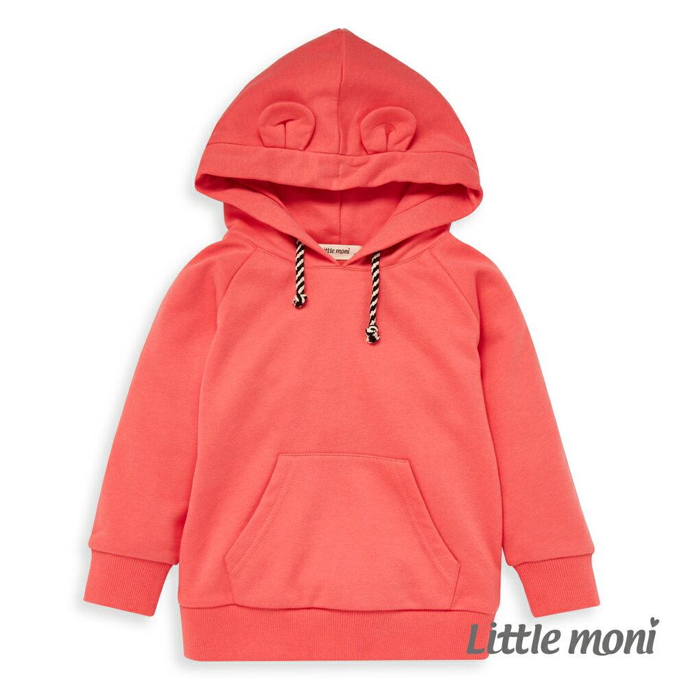 Little moni 耳朵造型連帽毛圈上衣 -淺珊瑚(好窩生活節) 0
