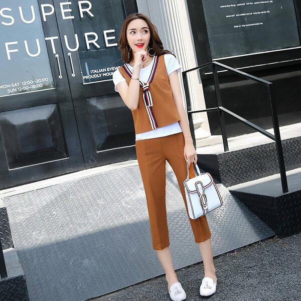 FINDSENSEG5韓國時尚夏季名媛套裝T恤馬甲三件套