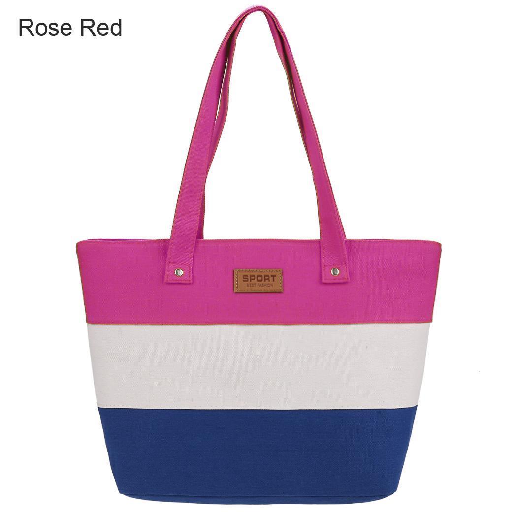 Women Large Capcity CanvasStripe Contrast Color Handbag 3