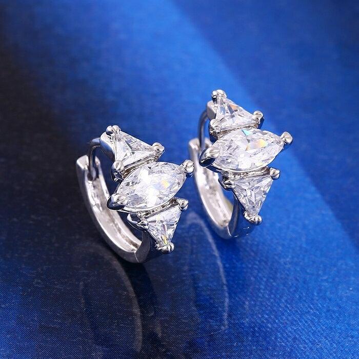 防抗過敏 三角形葉形 天然白水晶 耳圈扣耳環-銀
