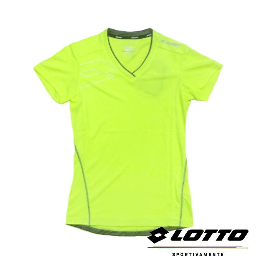 【巷子屋】義大利第一品牌-LOTTO樂得 女款鍺纖維機能慢跑T-SHIRT 運動衫 [LT5BWT0924] 螢光黃 超值價$298