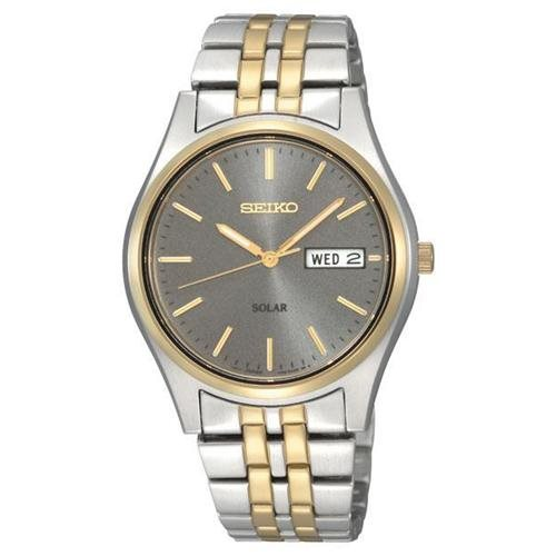 Seiko Two-tone Solar Charcoal Dial Mens Watch SNE042