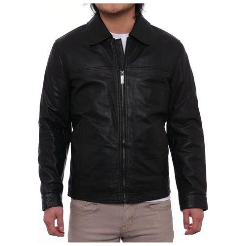 Perry Ellis Lambskin Leather Open Bottom Jacket Mens  Basic Jacket 0