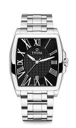 TITONI瑞士梅花錶華爾街系列83727S-315大方四角時尚羅馬腕錶/黑38.3mm