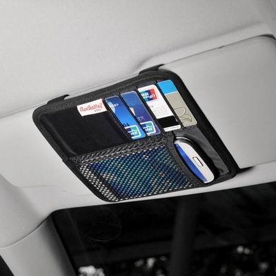 【遮陽板式收納袋-17*15cm-1個/組】汽車用品網兜眼鏡名片卡片證件包手機架(5.15寸之內)-527008
