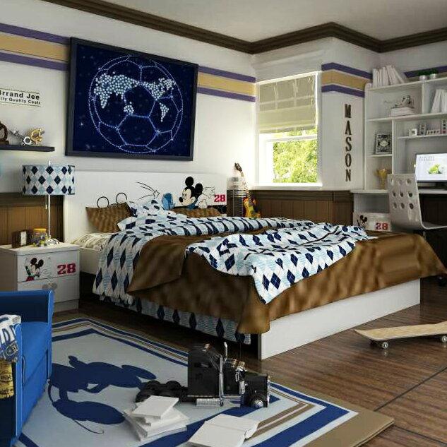 [首雅傢俬] 米奇 世界盃 5尺 雙人床 床架 兒童 家具 迪士尼