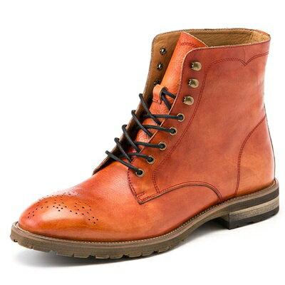 中筒靴真皮繫帶靴子-英倫復古巴洛克雕花男靴2色73kk15【獨家進口】【米蘭精品】