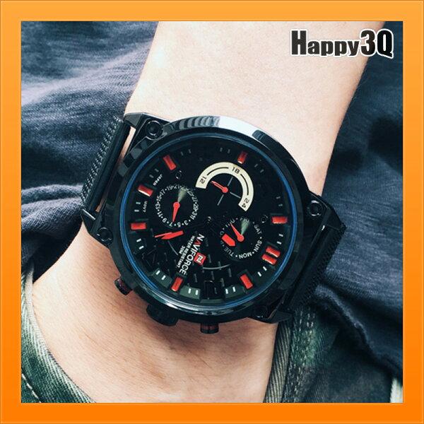 運動手錶軍用錶石英錶歐美時尚街頭風大錶面星期顯示日期手錶-黃米紅【AAA4290】