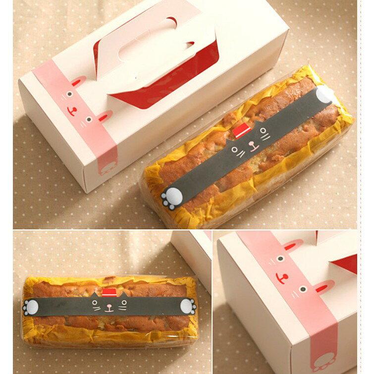 【嚴選SHOP】4入 超大貓咪長條貼 封口貼紙 禮品貼 裝飾 禮物黏口 卡片 包裝 奶酪杯 保羅瓶 布丁杯【A023】