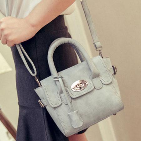 手提包 歐美流行磨砂百搭鎖頭包側背包【O3037】☆雙兒網☆ 4