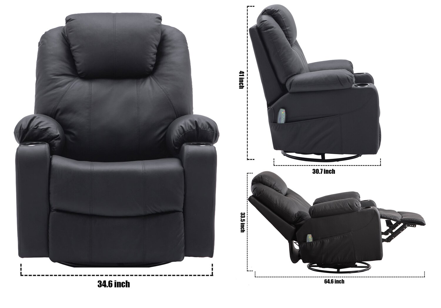 MCombo Electric Massage Sofa PU Leather Recliner Chair Vibrating Heated 360°Swivel Lounge Chair w/ Remote Black 8031 7