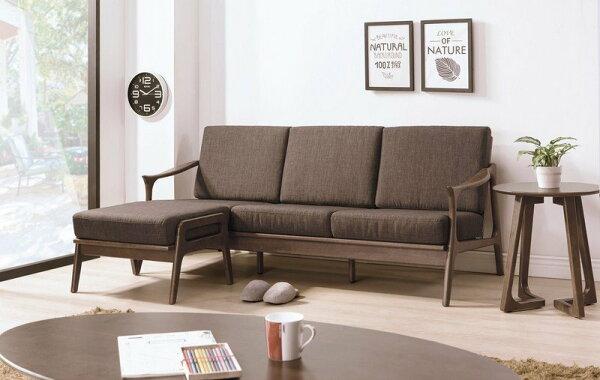 【石川家居】YE-A262-06傑瑞淺胡桃L型休閒椅組(咖啡布)(不含小茶几及其他商品)台北到高雄搭配車趟免運