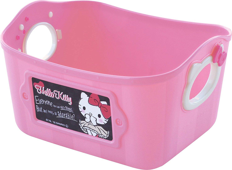 X射線【C340914】Hello Kitty日本製置物籃500ml(粉),雜物籃/收納籃/衛浴用品籃/手提籃