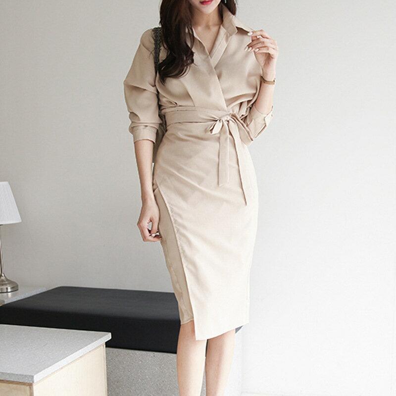 2021性感氣質襯衫連衣裙女chic秋款法式復古包臀裙收腰顯瘦打底裙