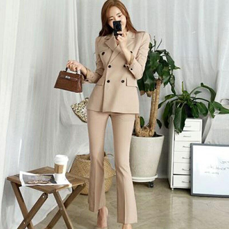 西裝套裝西裝外套+長褲(兩件套)-雙排扣修身休閒韓版女西服3色73xs4【獨家進口】【米蘭精品】