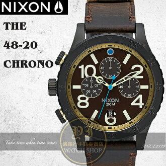 NIXON 實體店The 48-20 CHRONO LEATHER腕錶A363-2209公司貨/極限運動/禮物/情人節
