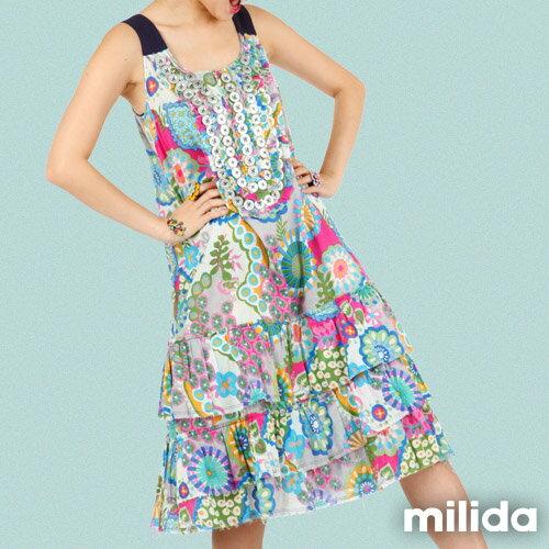 【Milida,全店七折免運】-夏季商品-無袖款-長版百摺洋裝 8