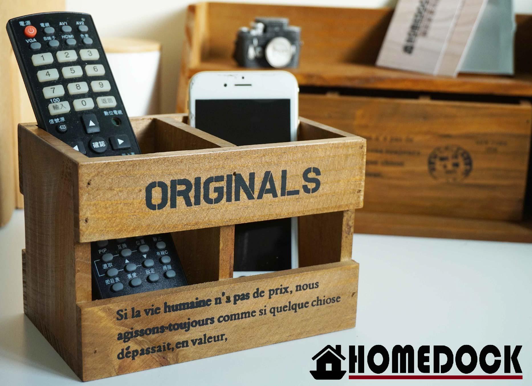 HOMEDOCK-原木質感雙格收納筒 /筆筒/置物盒/Zakka/雜貨/原木製/層格櫃/文具筒/雙層