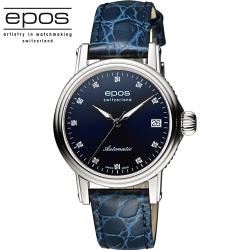 EPOS 都會時尚真鑽機械女錶 4390.152.20.86.16FB 藍/34mm