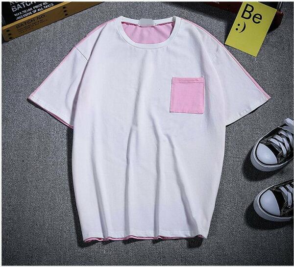 FINDSENSEH12018夏季T恤清新粉色潮流寬鬆短袖免燙時尚男體恤上衣