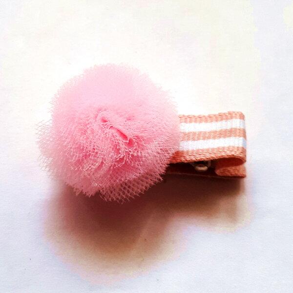 全包布髮夾.嬰兒髮夾AB5001-9粉色毛球鴨嘴夾瀏海夾日韓髮飾頭飾王子與公主