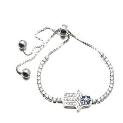 ~925純銀手鍊 鑲鑽手環~ 特別手掌情人節生日 女飾品73dl59~ ~~米蘭 ~