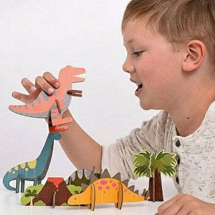 寶貝樂園婦嬰用品店 美國Petit Collage - 立體組裝拼圖 - 恐龍世界