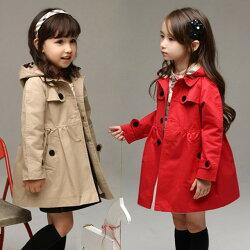 [Burberry風]英倫風超迷人大衣 限時促銷 兒童風衣外套 帽子可拆 兩色可選 小孩 小童 兒童 女童