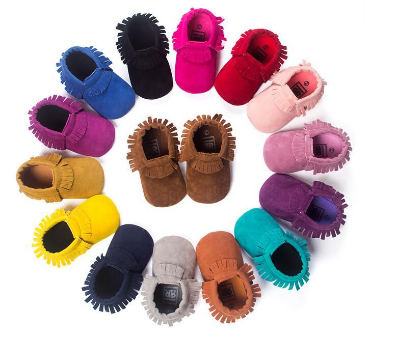 磨砂質感手工軟底流蘇學步鞋嬰兒鞋